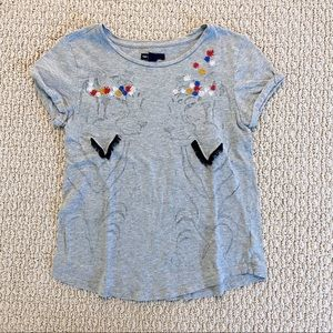 GAP Grey Tiger & Embroidered Floral Tee